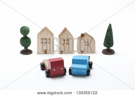 Toy car trucks on white background. logistics, distribution, and delivery concept.