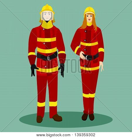 Firefighters in special red suits with helmets. Man and woman with the profession of firefighters. Vector illustration.