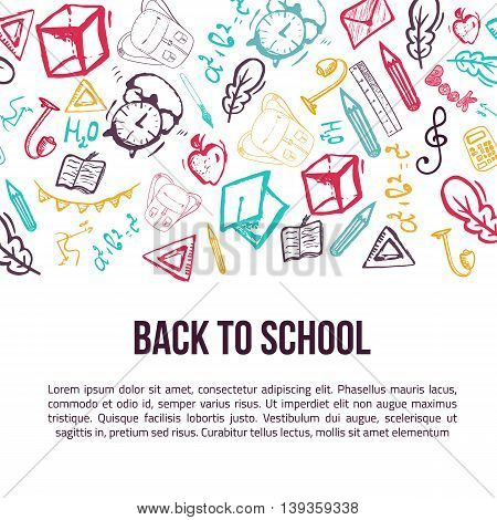 Back to School banner isolated on white background with doodle elements. Vector illustration can be used for greeting cards, clothes