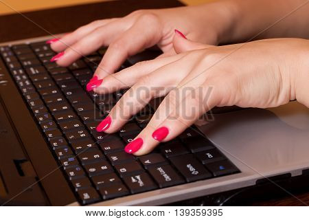 Businesswoman working on the computer, close up