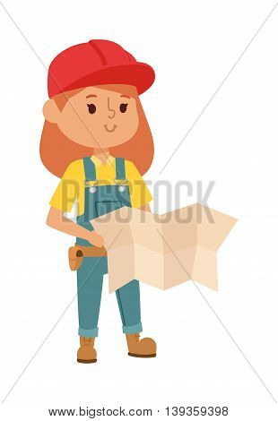 Builders kid girl builder with tools. Fun young profession.