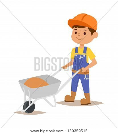 Builder kid boy with wheelbarrow builder with tools. V