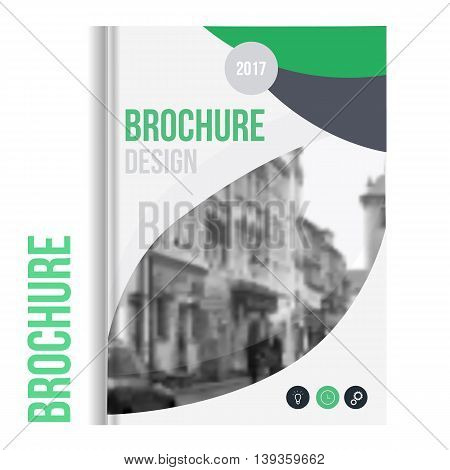 Vector brochure cover template with blured city landscape and lines. Professional Business presentation . A4 size Annual report template. Clean catalogue.