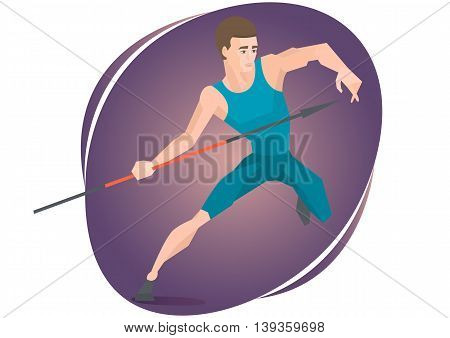 Vector illustration of an athlete throwing a javelin.