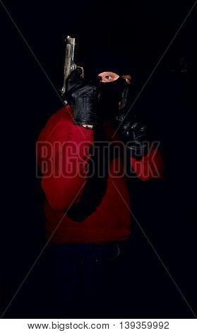 Gangster With Gun In Mask