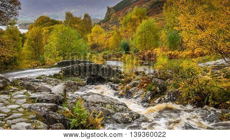 Ashness Bridge in the English Lake District in Autumn or Fall colours