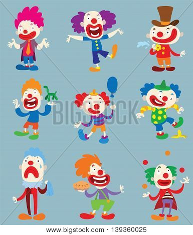 Set of clown character performing different fun activities vector cartoon illustrations.