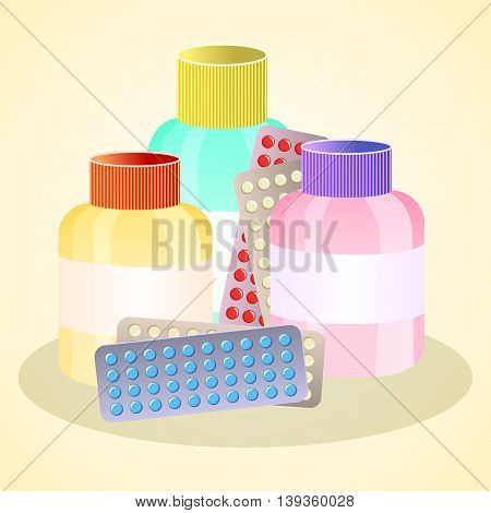 Pills in plates and bottles of potions and tinctures drugs. Health care in medicine. Treatment with drugs and medicine. Vector illustration.