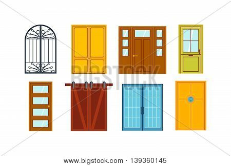 Set of color doors isolated on white. Colorful front doors to houses and buildings set in flat design style isolated.