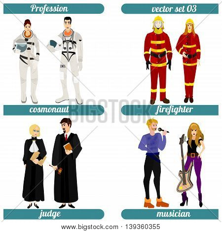 Set of four human occupations. Vector illustration.