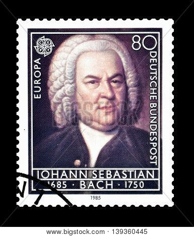 GERMANY - CIRCA 1985 : Cancelled postage stamp printed by Germany, that shows Johann Sebastian Bach.