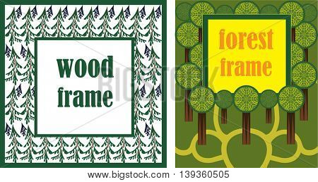 decorative frame with of images trees, conservation
