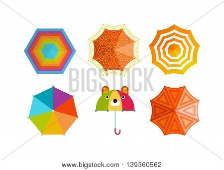 Set of cute multi colored umbrellas in flat design style.