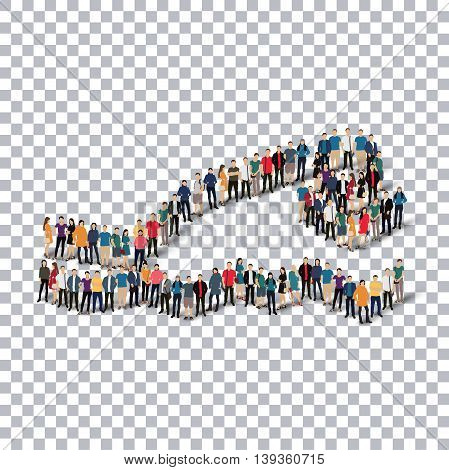 Isometric set of styles, people, sports, diving , web infographics concept  illustration of a crowded square, flat 3d. Crowd point group forming a predetermined shape. Creative people. transparent background