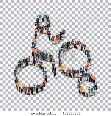 Isometric set of styles, people, sports, enduro , web infographics concept of a crowded square, flat 3d. Crowd point group forming a predetermined shape. Creative people.  illustration. transparent background