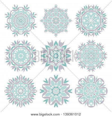 Set of decorative floral elements. Mandala. Ethnicity round ornament. Ethnic style. Oriental circular pattern. Elements for invitation cards. Arabic, Islamic,asian, indian native african motifs.