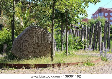 Historic Rune Stone At The Castle In Trelleborg, Sweden
