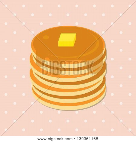 Vector Illustration of Pancakes with Syrup and Butter