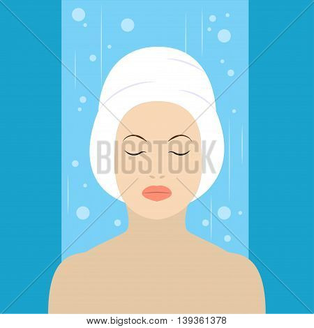 Girl with white towel on head in the shower Flat design