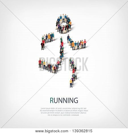 Isometric set of styles, people, sports, running , web infographics concept  illustration of a crowded square, flat 3d. Crowd point group forming a predetermined shape. Creative people.