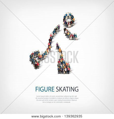Isometric set of styles, people, sports, figure skating , web infographics concept  illustration of a crowded square, flat 3d. Crowd point group forming a predetermined shape. Creative people.