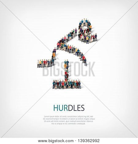 Isometric set of styles, people, sports, hurdles , web infographics concept  illustration of a crowded square, flat 3d. Crowd point group forming a predetermined shape. Creative people.