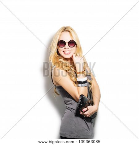 Fashion Model Girl Portrait Dressed In Top, Sunglasses And Modern Accessories