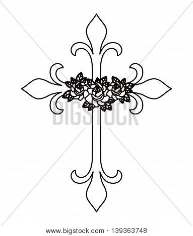 cross and flower tattoo isolated icon design, vector illustration  graphic