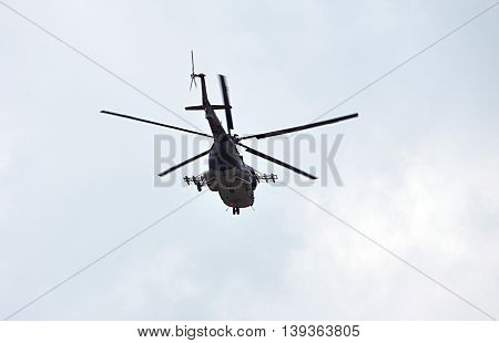 Detailed view of modern military helicopters in the day
