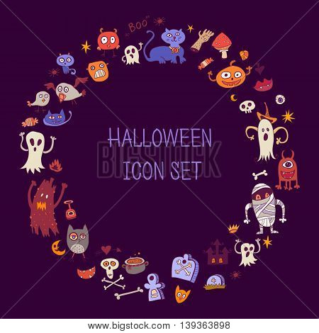 Halloween doodle icons. Round border out of colorful children's items. Halloween frame