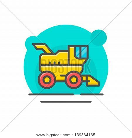 Combine harvester concept isolated on white. Vector illustration