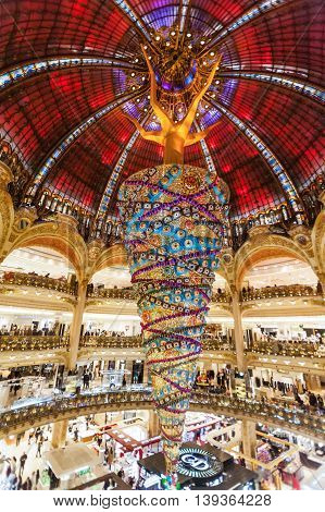 Paris France, 3 December 2014:  Galeries Lafayette is an upmarket French department store chain. Its flagship store is on Boulevard Haussmann in the 9th arrondissement of Paris but it now operates in a number of other locations in France and other countri