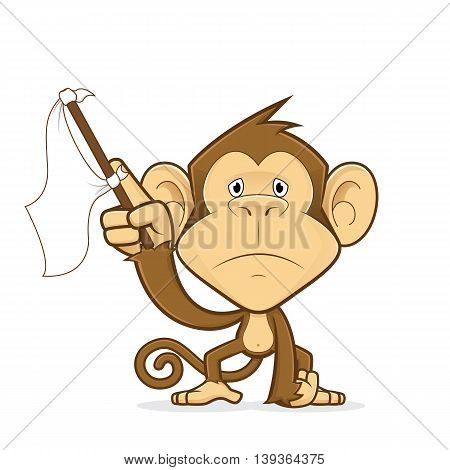 Clipart picture of a monkey cartoon character waving a white flag