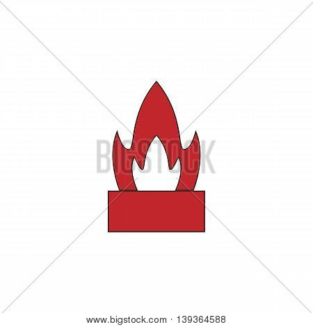 Flower in a pot. Cactus. Red flat simple modern illustration icon with stroke. Collection concept vector pictogram for infographic project and logo