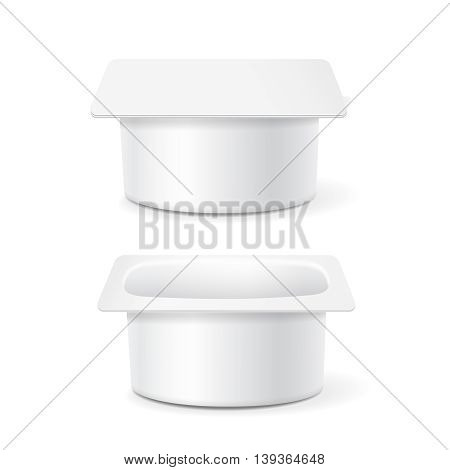 White cup tub food plastic container for dessert, yogurt, ice cream, Illustration isolated on white background. Mock up template