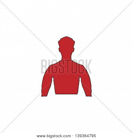 Silhouette man. Red flat simple modern illustration icon with stroke. Collection concept vector pictogram for infographic project and logo