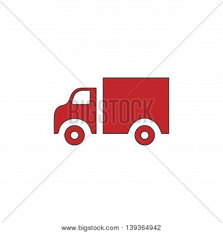 Truck. Red flat simple modern illustration icon with stroke. Collection concept vector pictogram for infographic project and logo