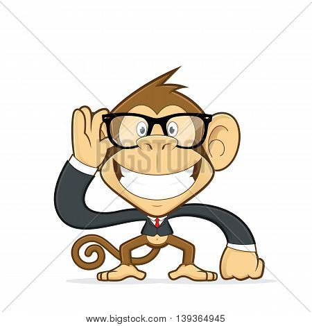 Clipart picture of a monkey cartoon character wearing suit