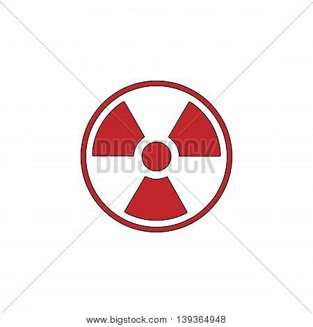 Radiation Red flat simple modern illustration icon with stroke. Collection concept vector pictogram for infographic project and logo