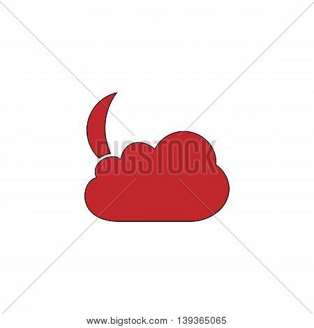 Moon and clouds. Red flat simple modern illustration icon with stroke. Collection concept vector pictogram for infographic project and logo