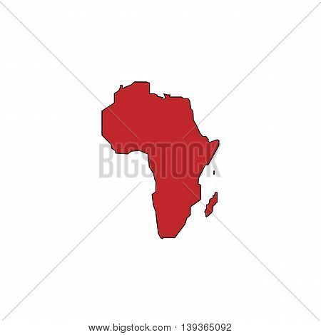 Africa Map. Red flat simple modern illustration icon with stroke. Collection concept vector pictogram for infographic project and logo