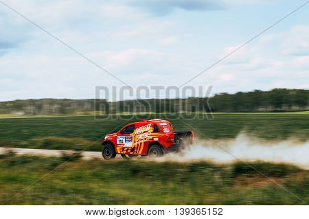 Filimonovo Russia - July 11 2016: rally car Chinese team goes on road during Silk way rally