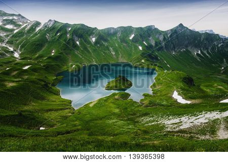 Schrecksee, an alpine lake in the Allgaeu alps near Hinterstein, Bavaria, German