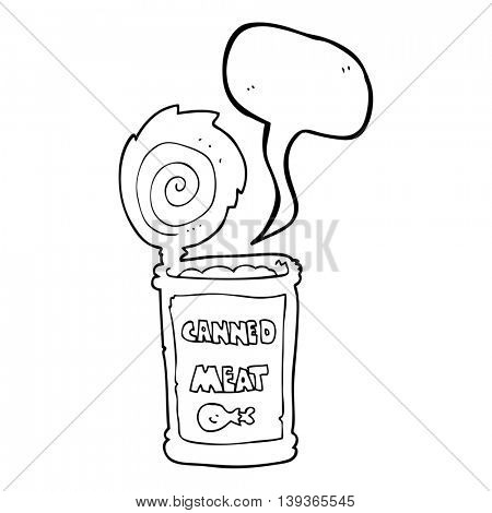 freehand drawn speech bubble cartoon canned meat