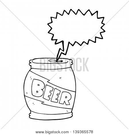 freehand drawn speech bubble cartoon beer can