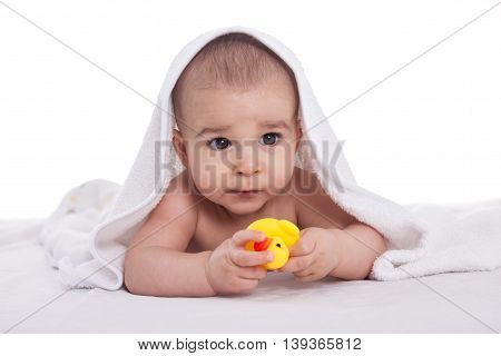 Cute Baby Enjoy Under White Towel With Bath Toys, Isolated