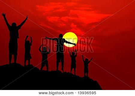 Six Children Jumping Mountain Sunset