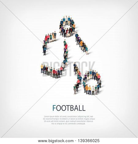 Isometric set of styles, people, sports, football , web infographics concept  illustration of a crowded square, flat 3d. Crowd point group forming a predetermined shape. Creative people.