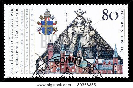 GERMANY - CIRCA 1987 : Cancelled postage stamp printed by Germany, that shows Pope Johannes Paulus II.