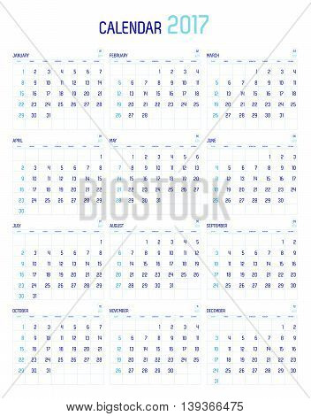Vector Of Calendar 2017 Year ,12 Month Calendar With Simple Basic Style,week Start At Sunday